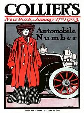 ART PRINT POSTER MAGAZINE COVER AUTOMOBILE CAR WOMAN DRESS RED USA NOFL0629