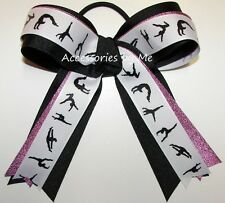Gymnastics Ponytail Holder Hot Pink Black Ribbon Bow Elastic Girls Accessories