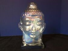 "BUDDHA HEAD Glass Figure Sculpture IRRIDESCENT on CLEAR BASE Home Decor 10.5"" H"