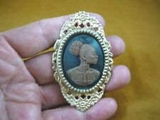 (CA20-16) RARE African American LADY brown + black CAMEO Pin Pendant JEWELRY