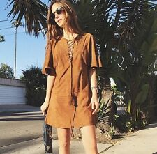 ZARA WOMAN STUDIO TAN SUEDE GOAT LEATHER BRAIDED FESTIVAL BLOGGERS DRESS S 8 10!
