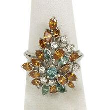 Estate 3ct Fancy Color Diamonds & Platinum Ladies Cluster Ring