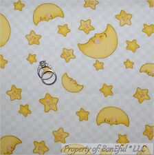 BonEful FABRIC FQ Cotton Quilt Cream Yellow Moon Star Baby Unisex Check Face USA