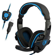 Sades SA-901 Stereo 7.1 Surround Pro Gaming Headset USB Headband For PC Notebook