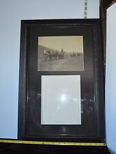 Vintage Old Photograph Of Horses & Wagons Framed w/Space  Second Photo 26 x 18