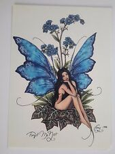 BLUE FORGET ME NOT FLOWER FAERY Faerie  FAIRY POSTCARD ART PRINT BY AMY BROWN