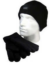 New Beanie Hat And Glove Set Thinsulate Insulation 40g Black One Size RJM BNWT