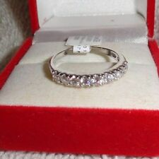 925 Sterling Silver 9 Stone CZ Engagement Ring Sizes 5 6 8 9 10