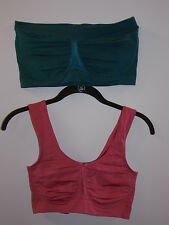 "Rhonda Shear 2-pack ""Ahh"" Bandeau and Leisure Bra-Eucalyptus/Rose-Small-NEW"