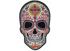 "(L45) Large SUGAR SKULL 10"" x 6.5"" iron on back patch (4963) Biker Vest"