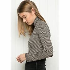Brandy melville long sleeve black/taupe striped turtleneck kendra top