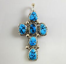 Large Silver Gold Natural Darling Darlene Turquoise Handmade Cross Pendant