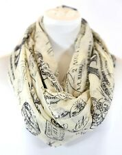B140 Eternity Vintage Eiffel Tower Paris France Ivory Beige Black Infinity Scarf