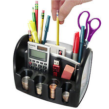 Desk Organizer Electric Pencil Sharpener Coin Change Pen Holder Office Card USA