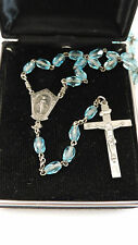 Vintage Sterling Silver AFCO Aqua Blue Cut Crystal Rosary Beads  1b 11
