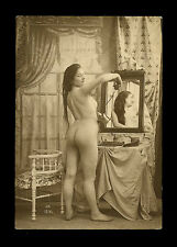 French 1910 Youthful NUDE Vanity Table Toilette Mirror H.O. ~ PARIS Latest!