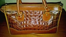 BRAHMIN Vintage Brown Croc Embossed LEATHER Handbag MINT Condition
