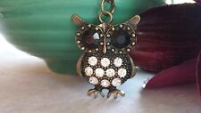 Owl Necklace, Antique Brass, Vintage Style, Rhinestone, 18 Inch