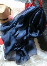 B-112 New Lady 100% Silk Sheer Paj Large Scarf Shawl Solid Classic Navy Blue