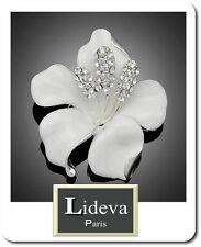 Luxus XL Brosche Blume Kristall Emaille Versilbert 50mmX50mm Braut Vintage paris