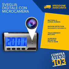 SVEGLIA OROLOGIO SPY SPIA CAM TELECAMERA CAMERA MOTION DETECTION AUDIO + VIDEO