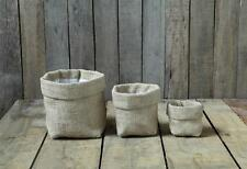 """Set of 3 Burlap Bag with Lining, 6¼"""", 4½"""", & 3"""" Tall, by Creative Co-Op"""