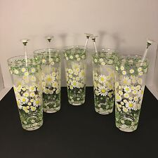Set of 5 Vtg 1960s Culver Daisy Ice Tea Glasses with Glass Stirrers