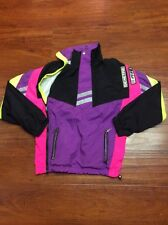 VTG 1989 Roffe Demetre Ski Jacket And Pants Mens M Purple Neon Yellow USA EUC