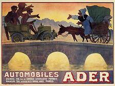 ADVERTISING ADER AUTOMOBILE CAR BRIDGE PARIS ROAD BLOCK RETRO POSTER PRINT LV491