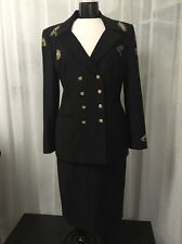 Escada Couture Embroidered Jeweled Black Wool Skirt Suit EU Size 42 (12) Rare!