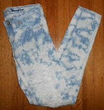 MACHINE SKINNY JEANS Size 1 Cigarette Acid Wash Distressed Pour Neuf Mode