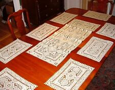 Exceptional Set of 8 Vintage Ecru Cut & Embroidered Placemats + Runner