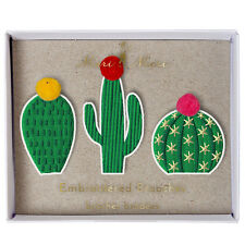 Cactus Brooches Set of 3 Gorgeous Fabric Pins Badges Gift Jewellery Accessories