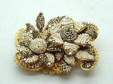 MIRIAM HASKELL Gold White & Silver Beaded Flower Wired Brooch *MINT