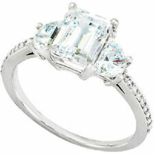 1 ct Emerald cut Diamond Engagement Wedding Half Moon Ring VS2 clarity