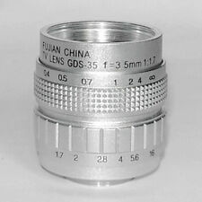 Focusafe Silver Fujian 35mm F1.7 CCTV TV lens C Mount to Nikon Sony/Carnon Cam
