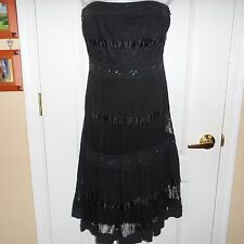 Women's Junior's Two of Us New York Black Strapless Dress Sequins Lace XL Summer
