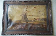 VECCHIO ANTICO SCOLPITO Oak Frame & ORIGINALI TELA PITTURA AD OLIO PAESAGGIO Windmill