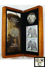 2004 Grizzly Bear Proof $8 Pure Silver Coin & Stamp Set (10832)