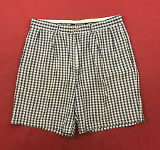 "Polo Golf Mens Size 33 Bermuda Shorts White Black Plaid Pleated Front 8"" Inseam"