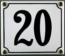 """Weiße Emaille Hausnummer """"20"""" 14x12 cm Hausnummernschild sofort lieferbar Schild"""