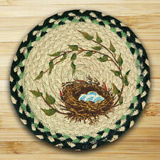 "ROBIN'S NEST 100% Natural Braided Jute Swatch 10"" Trivet/Placemat, by Earth Rugs"