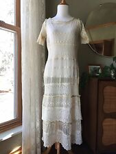 20s Dress French Net Floral Mixed Lace Flapper 1920s Drop Waist Pale Ecru Cream