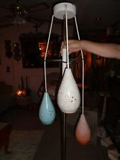 8 FT VINTAGE TENSION POLE LAMP W/ 3 DIFFERENT COLORED CERAMIC  GLOBES