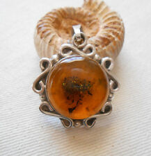 Awesome Mexico Sterling Silver Amber Pendant   404014