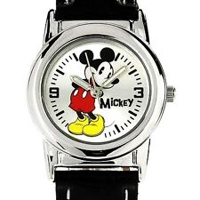 New Disney Mickey Mouse Classic Silver Black Leather Band Watch MCK621