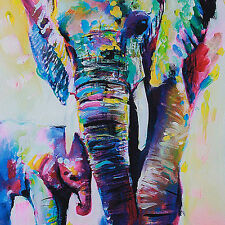 Modern Hand-painted Art Oil Painting Abstract Wall Decor Elephant on Canvas AA