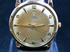 RARE ORIGINAL VINTAGE FANCY 1950 OMEGA BUMPER AUTOMATIC GOLD WATCH SERVICE 351