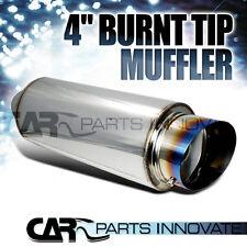 "4"" Titanium Slant Round Tip 2.5"" Inlet JDM N1 Exhaust Muffler+ Silencer"