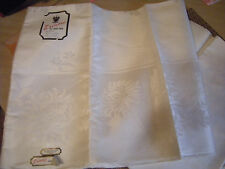 "ERINORE IRISH LINEN TABLECLOTH IVORY CREAM DAMASK 66"" x 84"" NEVER USED!!"